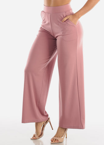 Image of Wide Legged Mauve Dressy Pants