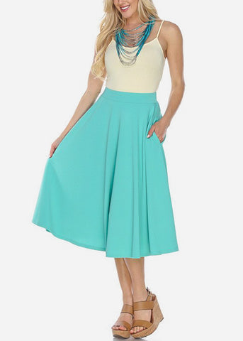Image of Fit & Flare Teal Midi Skirt