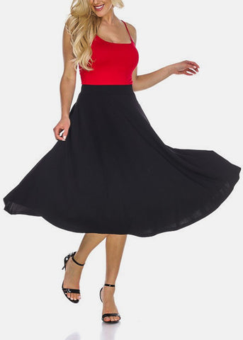 Image of Fit & Flare Solid Black Midi Skirt