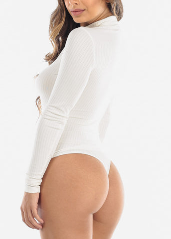 Ivory Mock Neck Long Sleeve Bodysuit