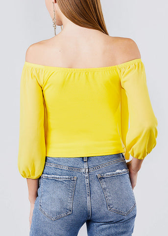 Off Shoulder Shirring Yellow Top