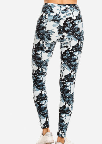 Image of Activewear Light Blue Floral Leggings