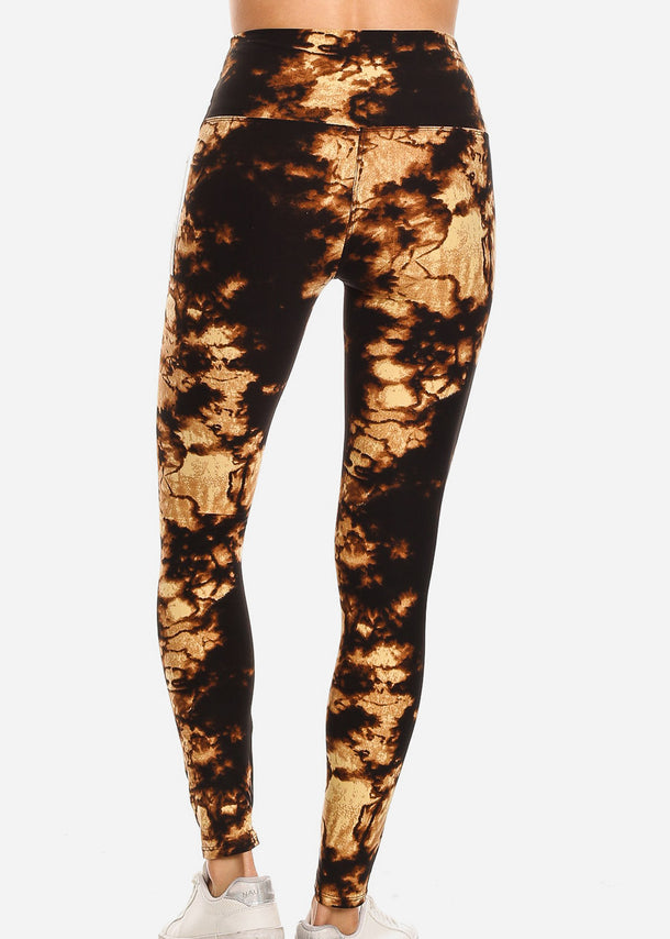 Activewear Black & Cream Tie Dye Leggings