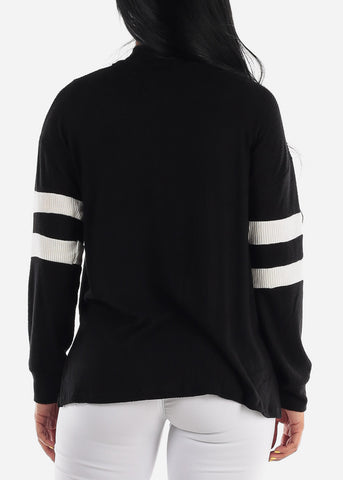 Image of Long Sleeve Open Front Black Cardigan