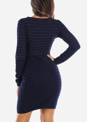 Image of Navy Half Zip Long Sleeve Sweater Dress