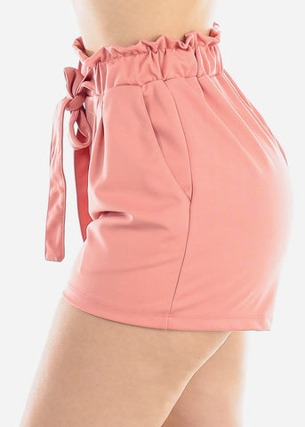 Image of High Rise Paperbag Mauve Shorts