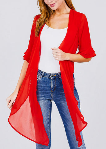 Red Knot Tie Front Woven Cardigan