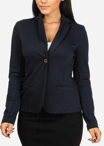 One Button Navy Blazer