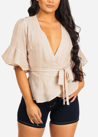 Image of Beige Wrap Blouse