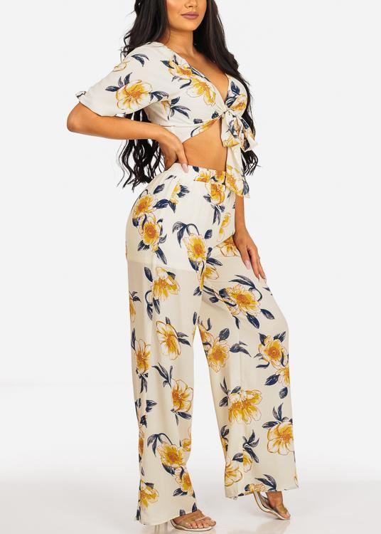 Floral Print Crop Top & Pants (2PCE SET)