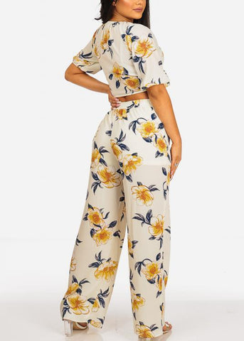 Image of Tie Front Crop Top And High Rise Off White Floral Print Pants (2PCE SET)