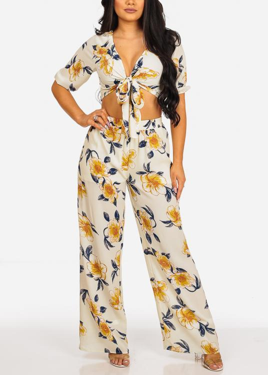 Tie Front Crop Top And High Rise Off White Floral Print Pants (2PCE SET)