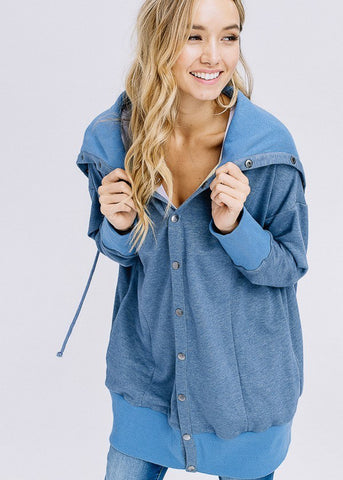 Image of Sailor Button Blue Oversized Jacket
