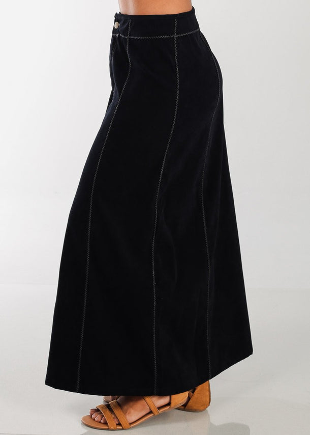Black Suede Maxi Skirt