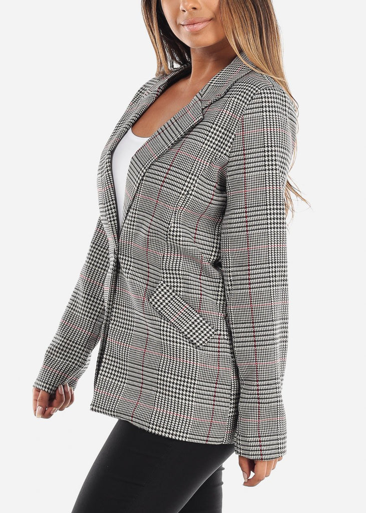One-Button Plaid Blazer with Red Detail