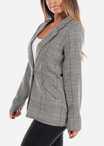 Image of One-Button Plaid Blazer with Red Detail