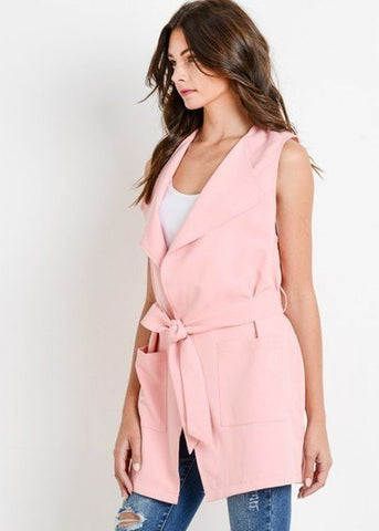 Image of Sleeveless Blush Long Vest