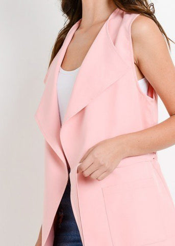 Sleeveless Blush Long Vest