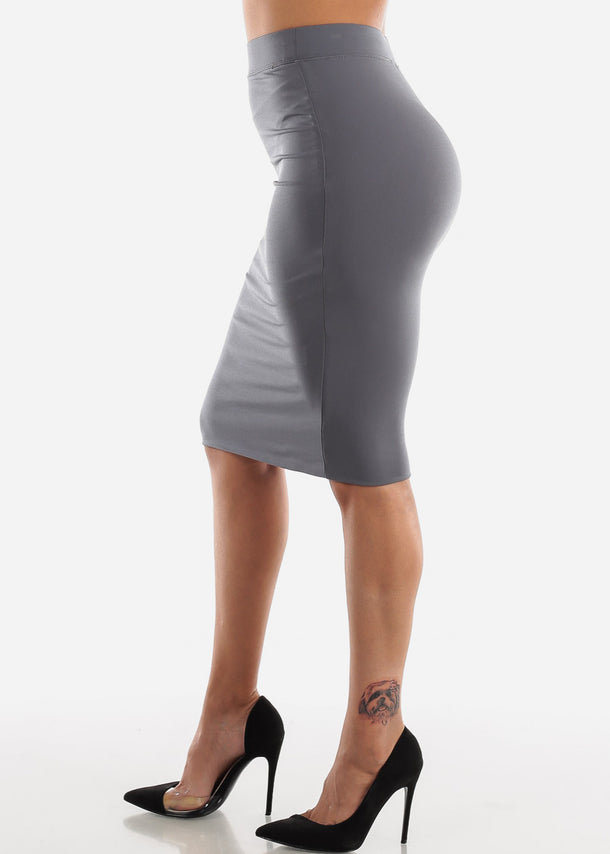 High Waisted Charcoal Pencil Midi Skirt