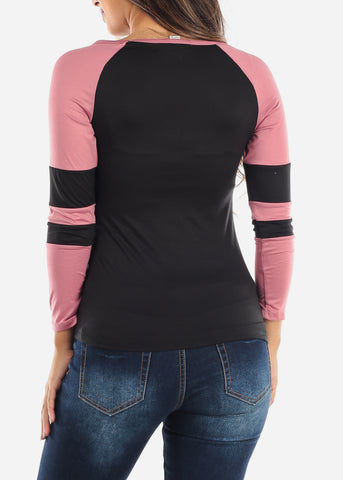 Image of Black and Pink Colorblock Top