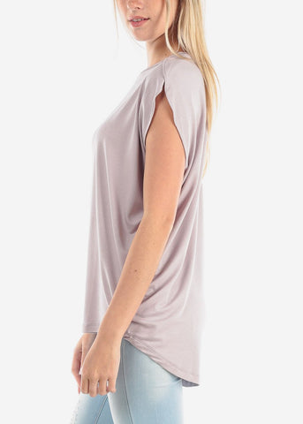 Image of Women's Junior Ladies Casual Round Neckline Short Sleeve Loose Fit Light Lavender Tunic Top