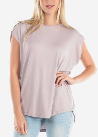 Women's Junior Ladies Casual Round Neckline Short Sleeve Loose Fit Light Lavender Tunic Top