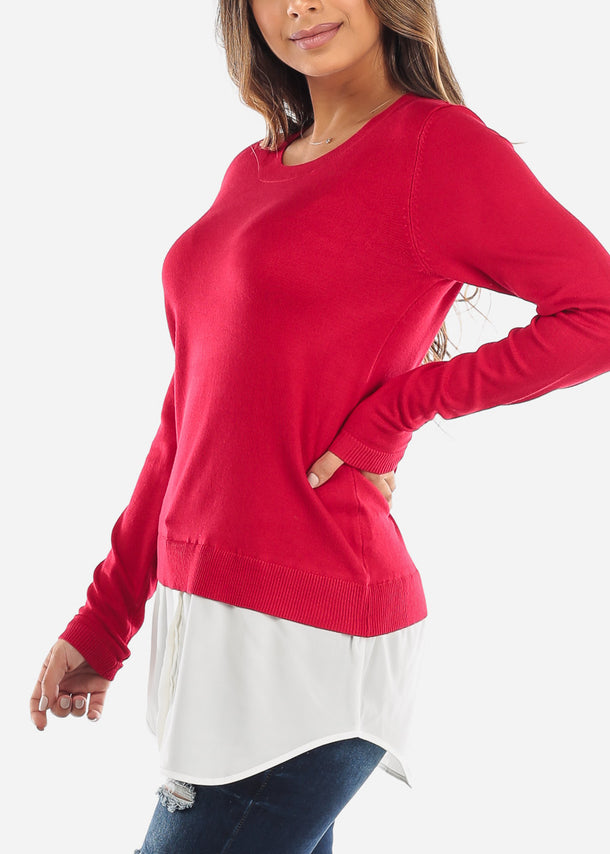 Combined Red Sweater Button Down Top