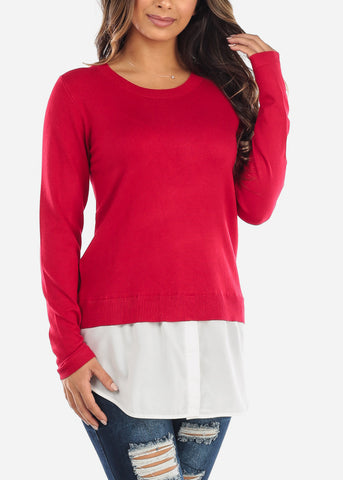 Image of Combined Red Sweater Button Down Top SW1350RED