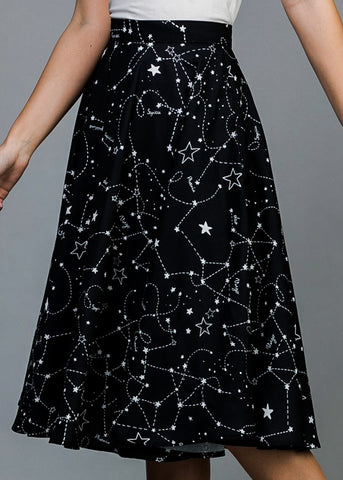 Constellation Black Fit & Flare Skirt
