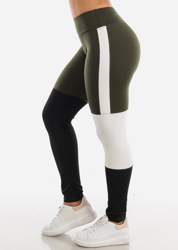 Activewear Colorblock Olive Leggings