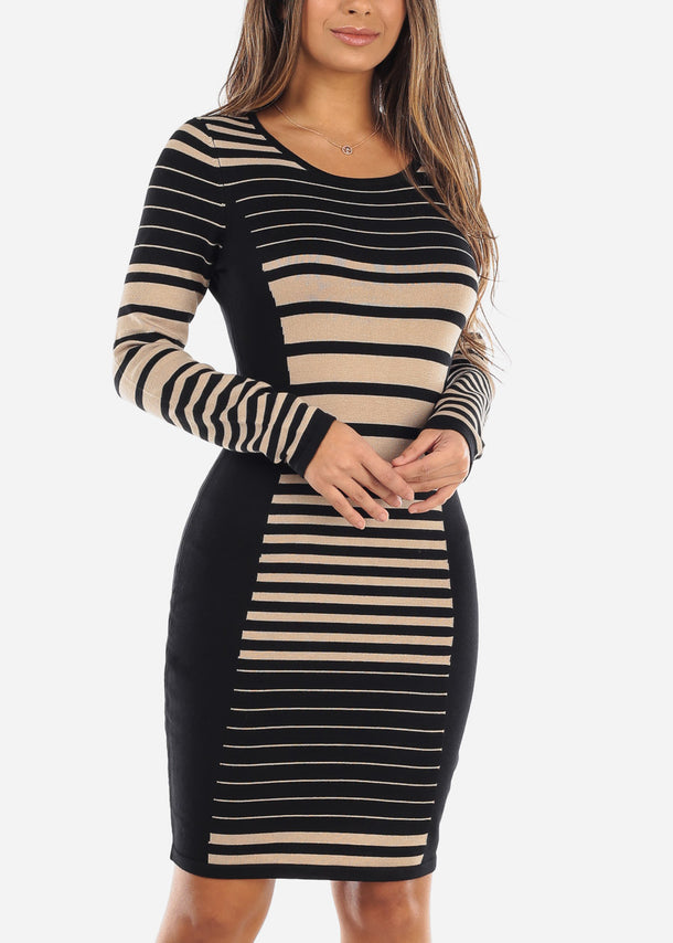 Black & Beige Striped Sweater Dress