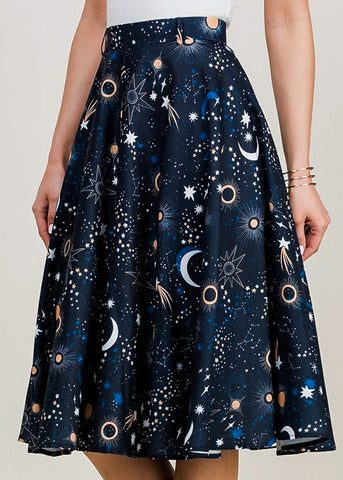 Image of Navy Galaxy Print Fit & Flare Skirt