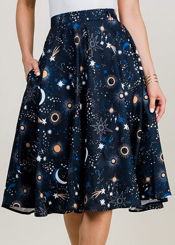 Navy Galaxy Print Fit & Flare Skirt