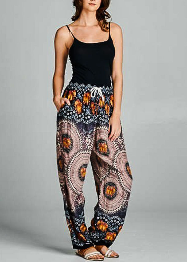 Elephant Print Drawstring Pants