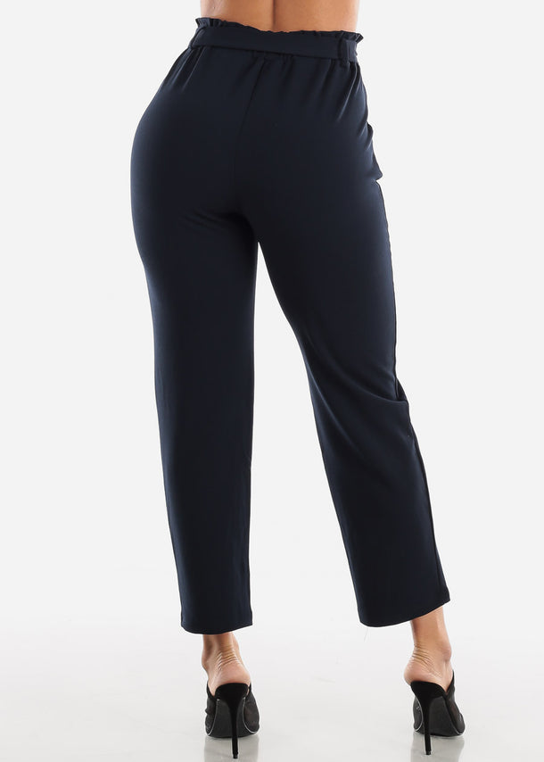 Navy Belted Straight Leg Dress Pants