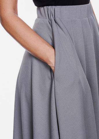 Image of Fit & Flare Grey Midi Skirt