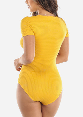 Yellow V-Neck Bodysuit