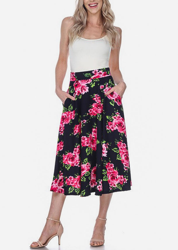 Floral Fit & Flare Navy Midi Skirt