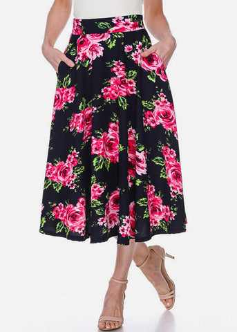Image of Floral Fit & Flare Navy Midi Skirt