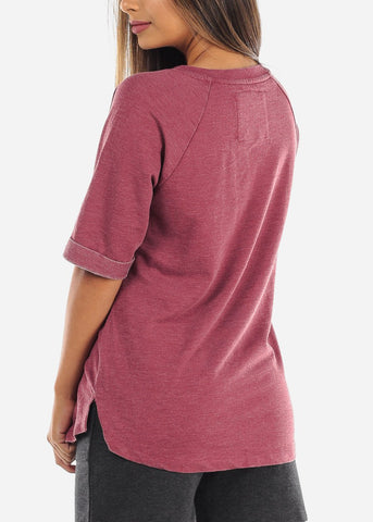 Image of Casual Comfy Short Sleeve Lace Up Neck Stretchy Loose Fit Flowy Burgundy Tunic Top For Women Ladies Junior At Affordable Price On Sale