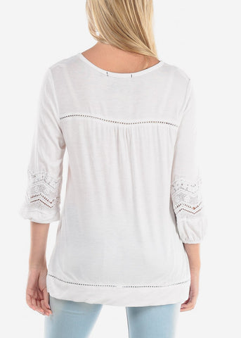 Image of Women's Junior Ladies Casual Going Out Button Up Neckline Crochet Design White Stretchy Tunic Top