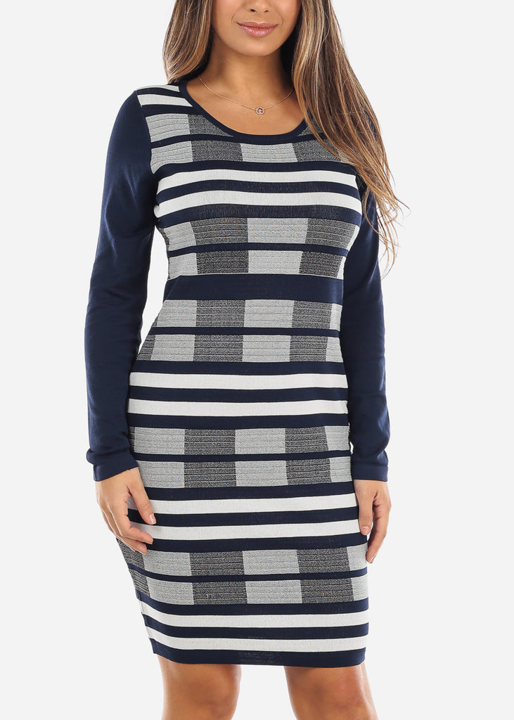 Navy & White Sweater Dress