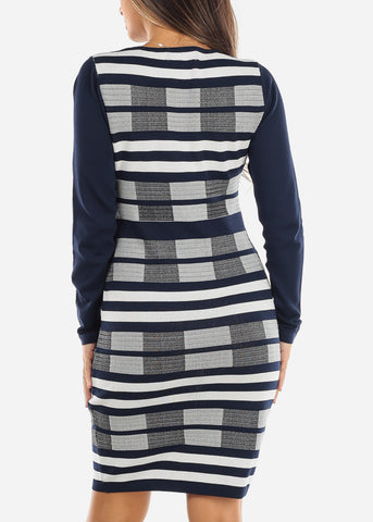 Image of Navy & White Sweater Dress