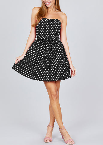 Image of Strapless Black Polka Dot Mini Dress