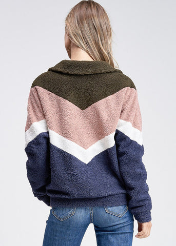 Image of Zip Up Multicolor Zig Zag Jacket