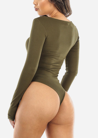 Image of Scoop Neck Button Front Olive Bodysuit