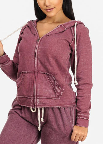 Burgundy Zip Up Faded Hoodie