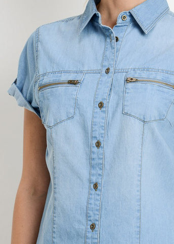 Short Sleeve Med Wash Denim Shirt