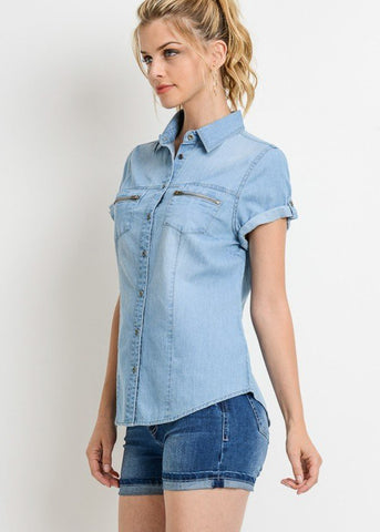 Image of Short Sleeve Med Wash Denim Shirt