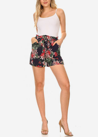 Lightweight Floral Navy Shorts